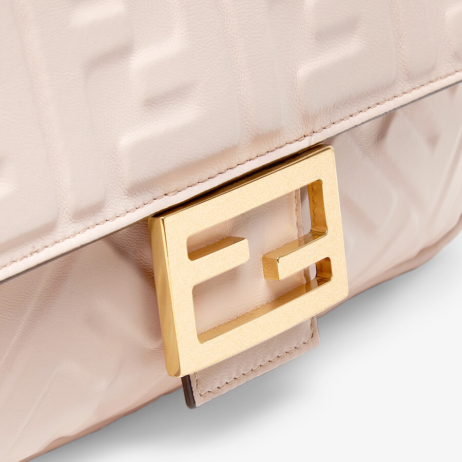 FENDI BAGUETTE - Pink nappa leather FF bag - view 6 detail