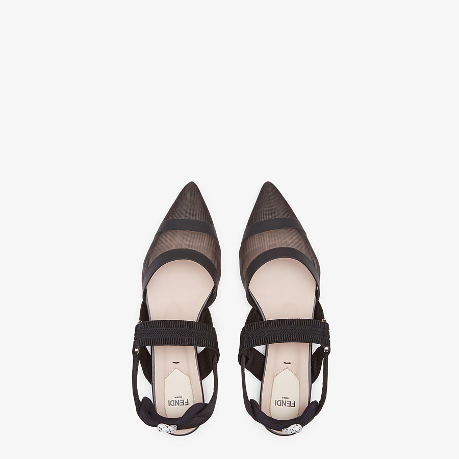 FENDI SLINGBACK - Colibrì in black leather and mesh - view 4 detail