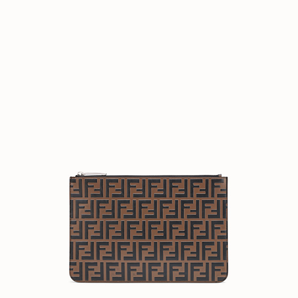FENDI POUCH - Brown leather slim pouch - view 1 small thumbnail