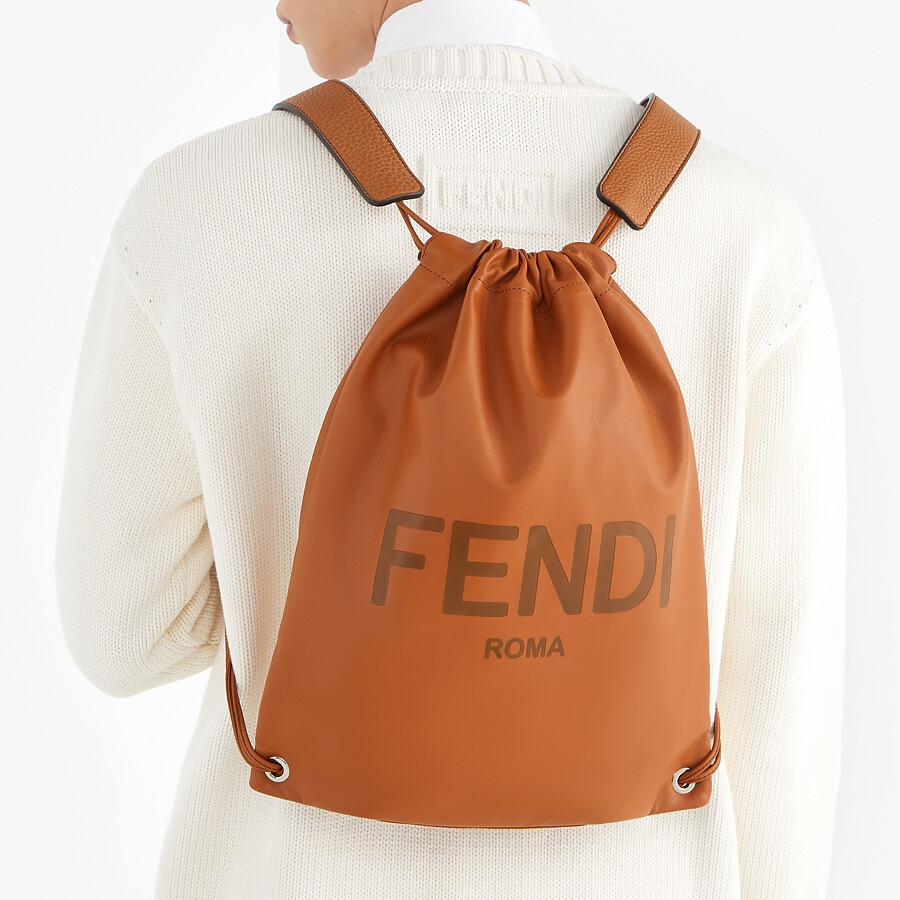 FENDI BACKPACK - Brown leather backpack - view 5 detail