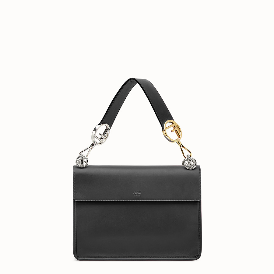 FENDI KAN I LOGO - Black leather bag - view 3 detail