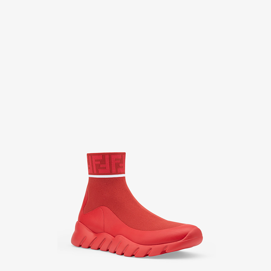 FENDI SNEAKERS - Red, tech fabric high tops - view 2 detail