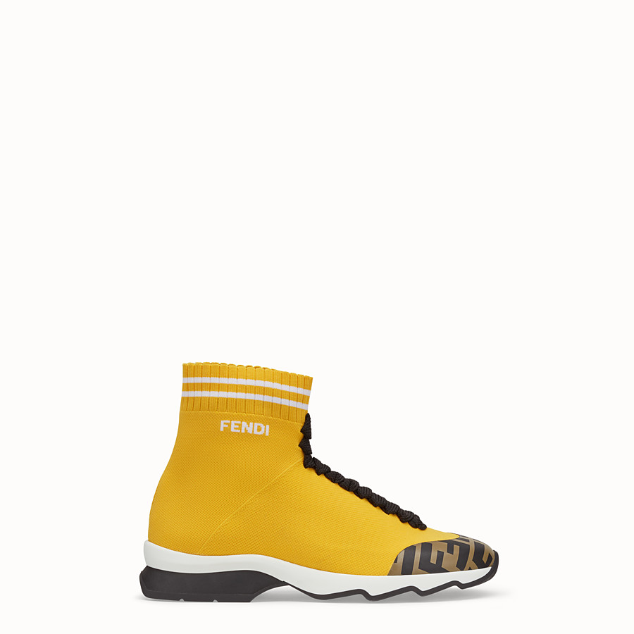 FENDI SNEAKERS - Yellow fabric sneaker boots - view 1 detail