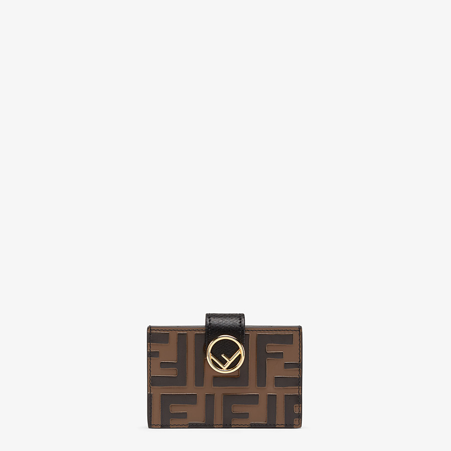 FENDI CARD HOLDER - Black leather gusseted card holder - view 1 detail