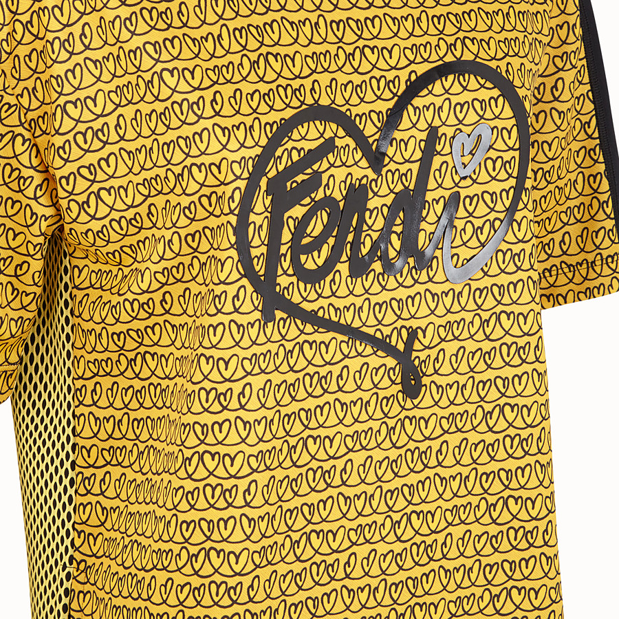 FENDI T-SHIRT - Yellow tech fabric T-shirt - view 3 detail