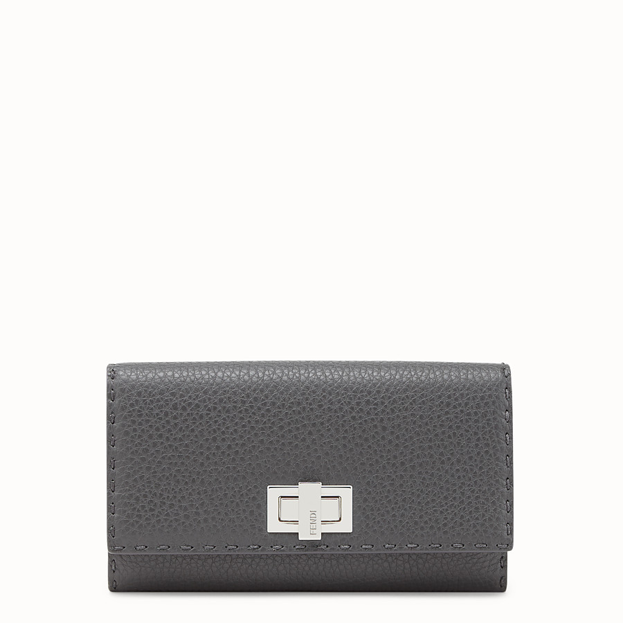 FENDI CONTINENTAL - Wallet in grey Roman leather - view 1 detail