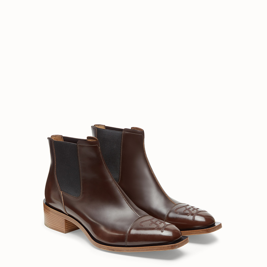 FENDI ANKLE BOOTS - Brown leather ankle boots - view 4 detail