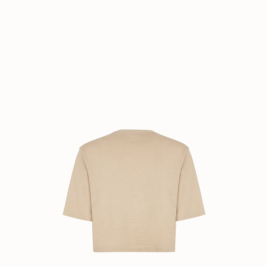 FENDI T-SHIRT - Beige cotton T-shirt - view 2 detail