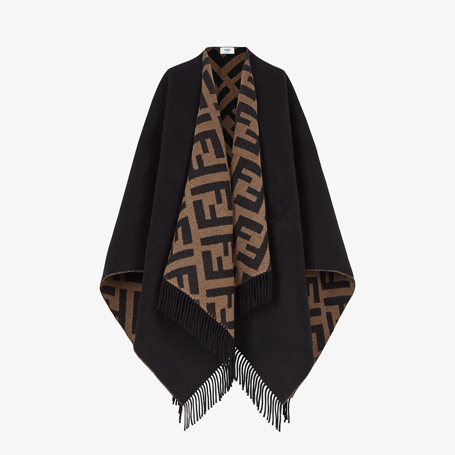 FENDI PONCHO - Multicolor wool and cashmere poncho - view 1 detail