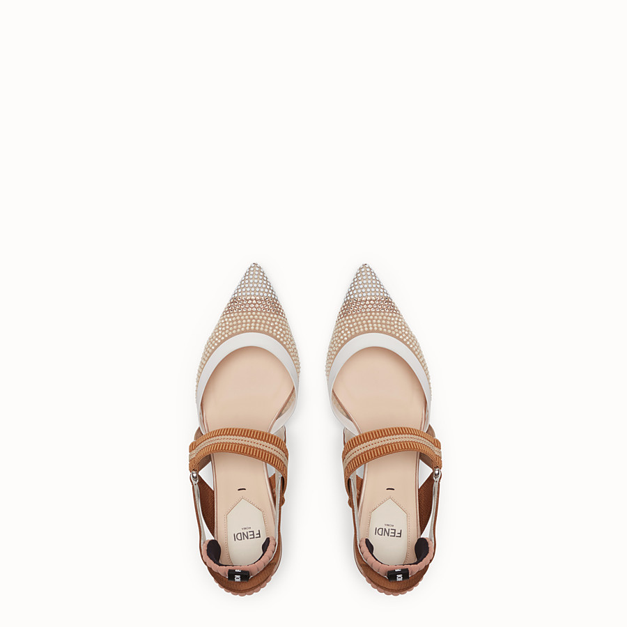 FENDI SLINGBACKS - Colibrì in beige mesh - view 4 detail