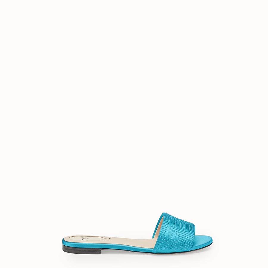 FENDI SABOTS - Turquoise satin slides - view 1 detail