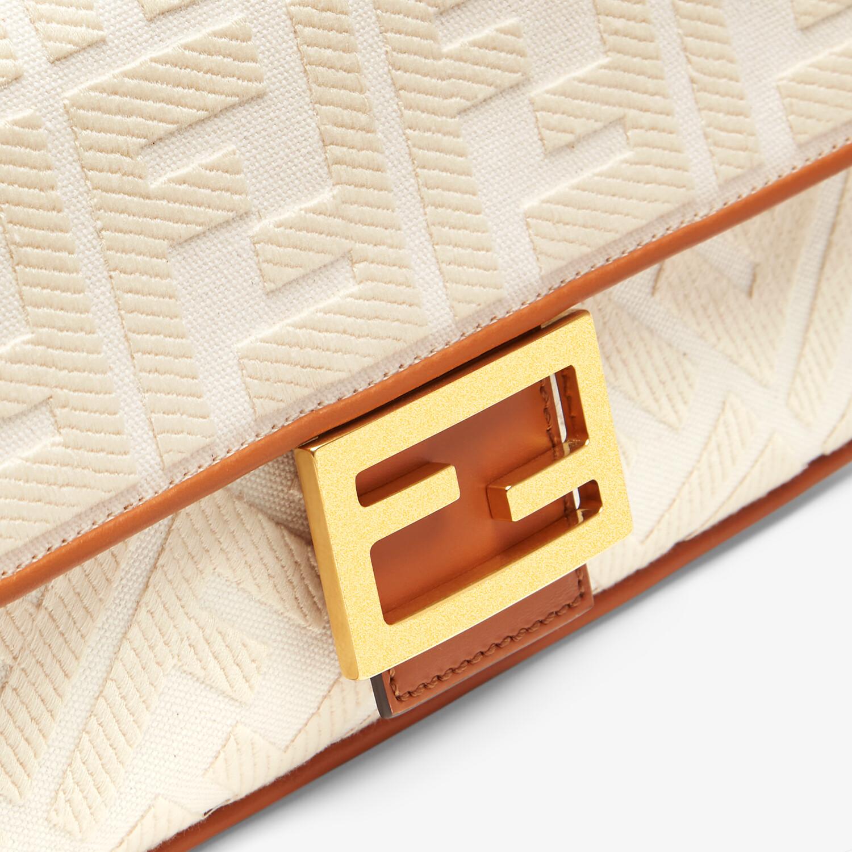 FENDI BAGUETTE - White canvas FF bag - view 6 detail