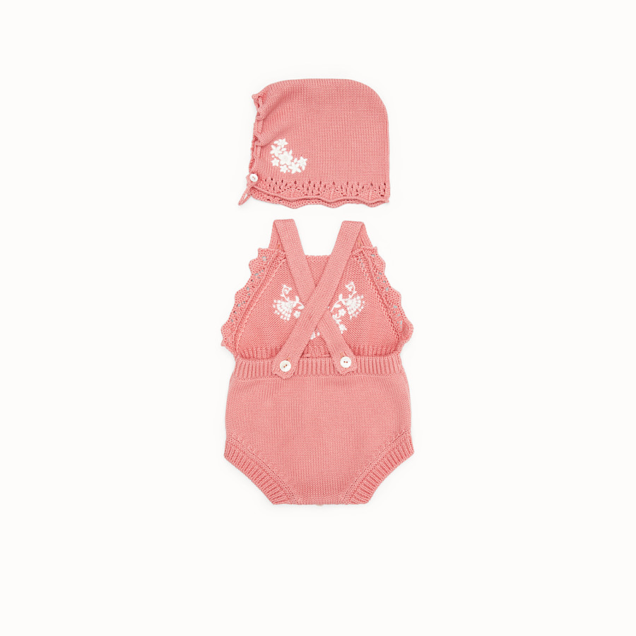 FENDI COTTON AND CASHMERE PLAYSUIT AND BONNET - Cotton and cashmere playsuit and bonnet with embroidery - view 2 detail