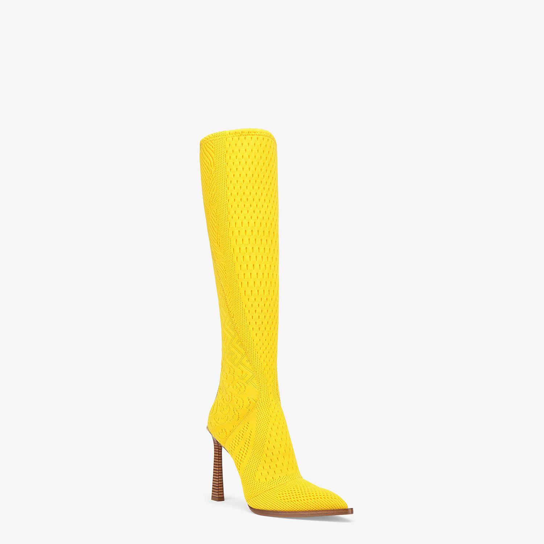FENDI BOOTS - High-tech yellow jacquard boots - view 2 detail