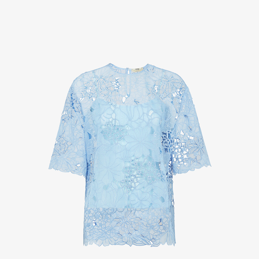 FENDI T-SHIRT - Light blue lace T-shirt - view 1 detail