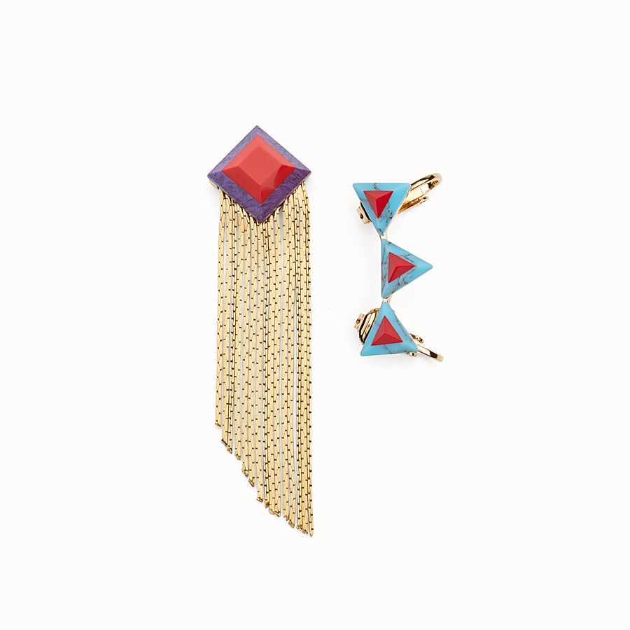 FENDI RAINBOW EARRINGS - Earrings with rainbow stones - view 1 detail