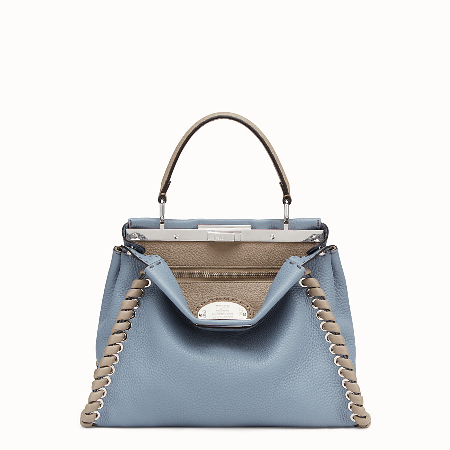 FENDI PEEKABOO ICONIC MEDIUM - Pale blue leather bag - view 1 detail