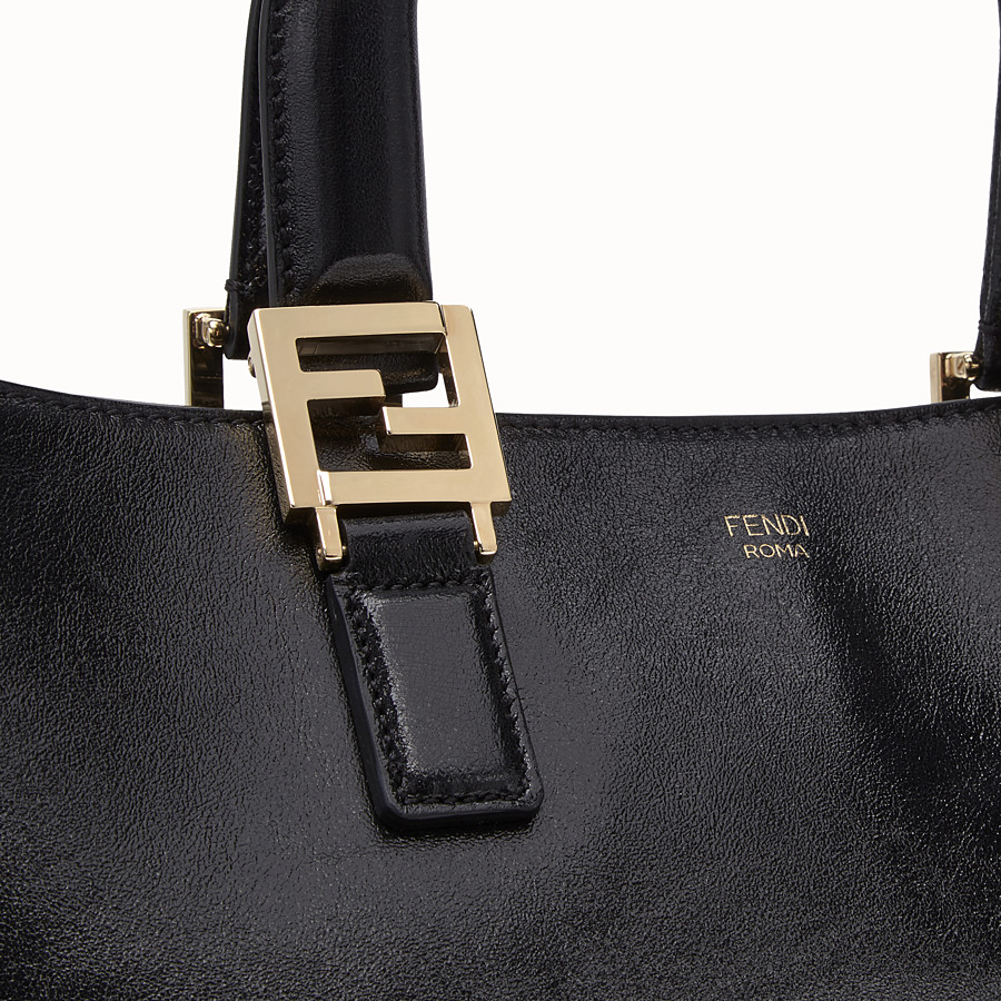 FENDI FF TOTE LARGE - Black leather bag - view 5 detail