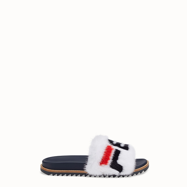 FENDI SLIDES - Multicoloured mink Fussbet sandals. - view 1 small thumbnail