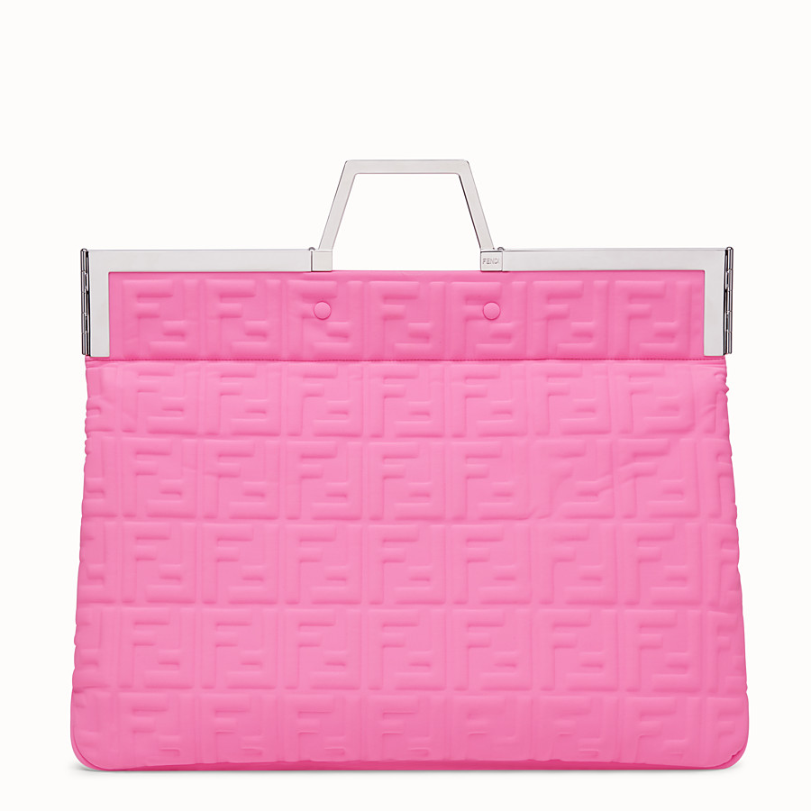 FENDI FLAT SHOPPING BAG LARGE - Shopper in pink Lycra® - view 1 detail