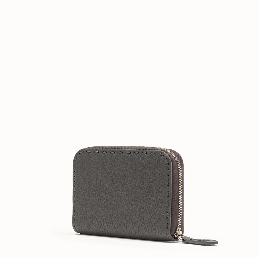 FENDI SMALL ZIP-AROUND - Grey leather wallet - view 2 detail