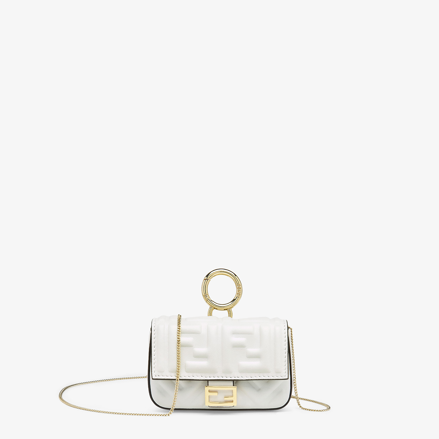 FENDI NANO BAGUETTE CHARM - White nappa leather charm - view 1 detail