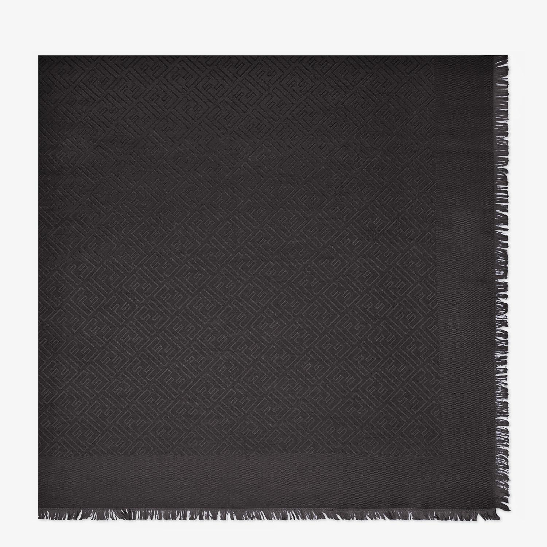 FENDI FF SHAWL - Black silk and jacquard wool shawl - view 1 detail