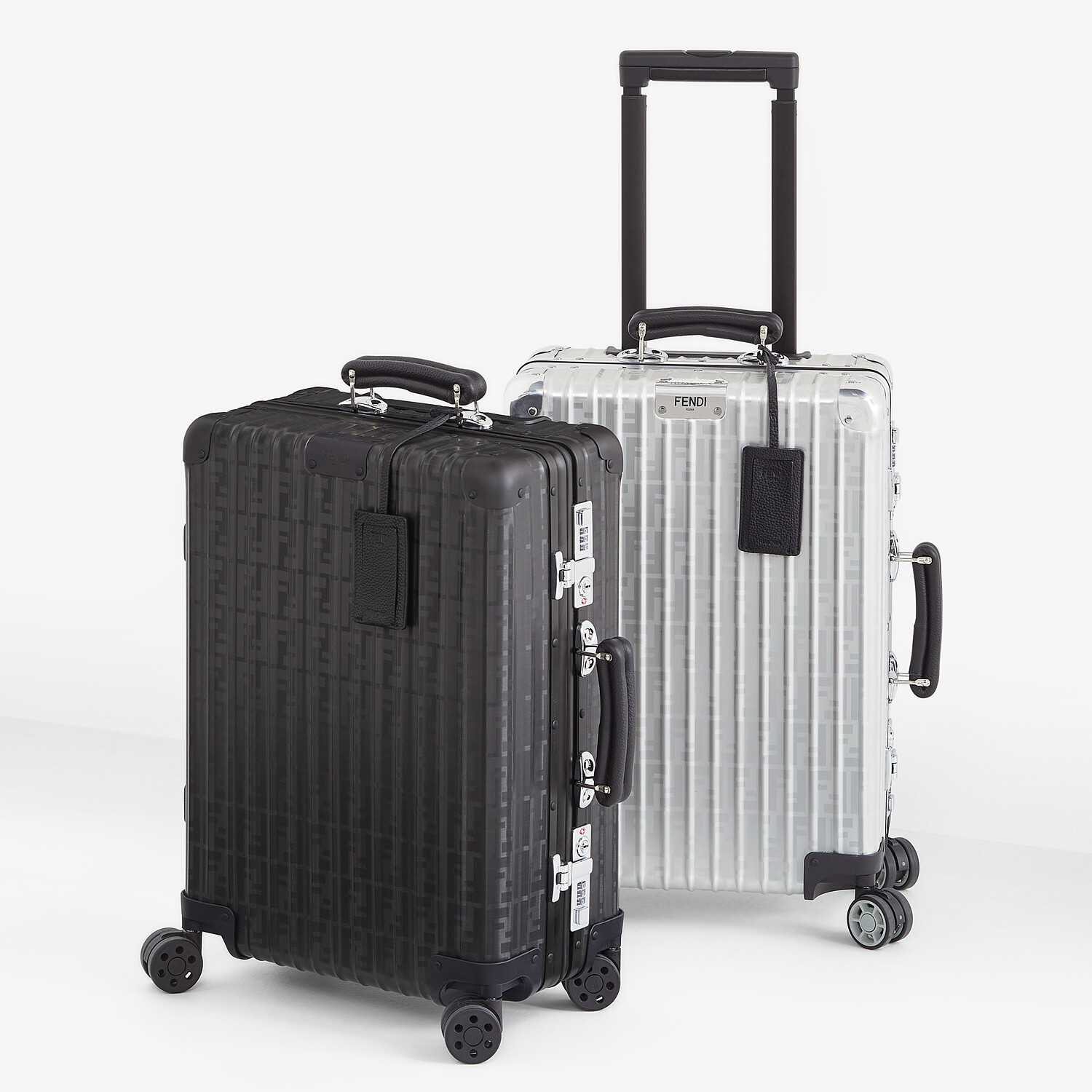 FENDI CABIN SIZE TROLLEY - Black aluminum trolley case with leather details - view 6 detail