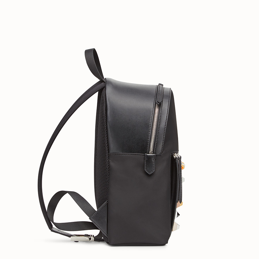 FENDI BACKPACK - Black fabric and leather backpack - view 2 detail