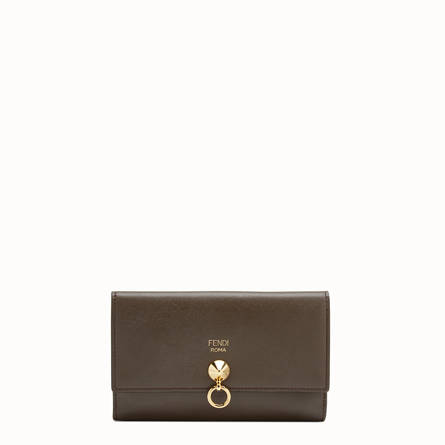 FENDI WALLET - Slim brown leather continental wallet - view 1 detail