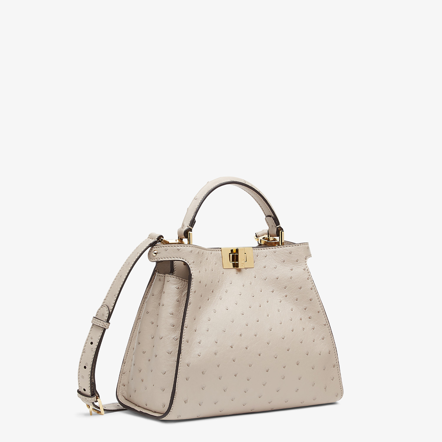 FENDI PEEKABOO ICONIC ESSENTIALLY - Gray ostrich leather bag - view 3 detail