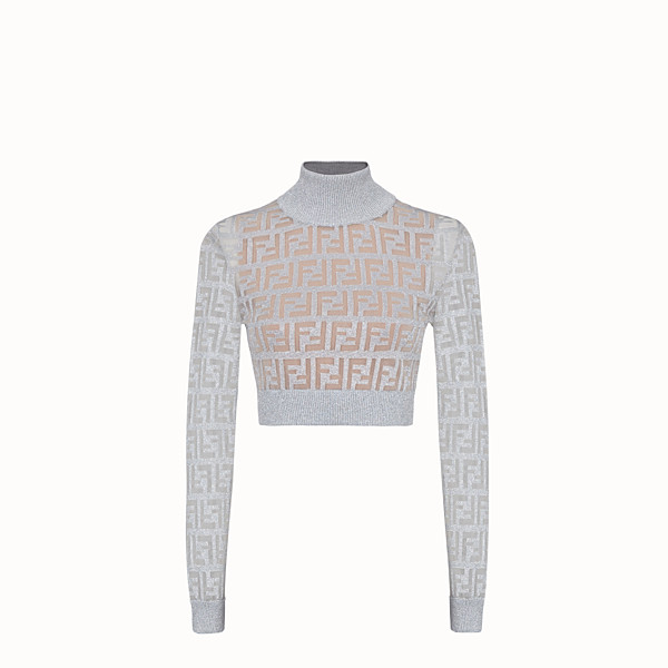 FENDI SWEATER - Silver knit top - view 1 small thumbnail