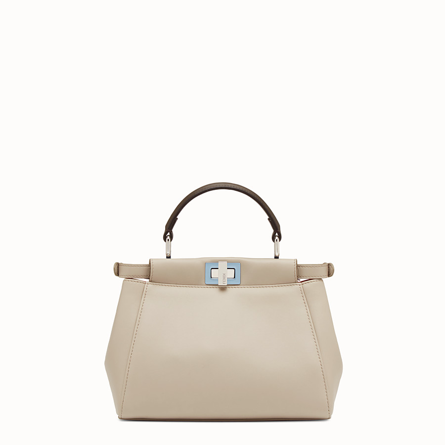 FENDI PEEKABOO MINI - Powder-gray nappa handbag - view 3 detail