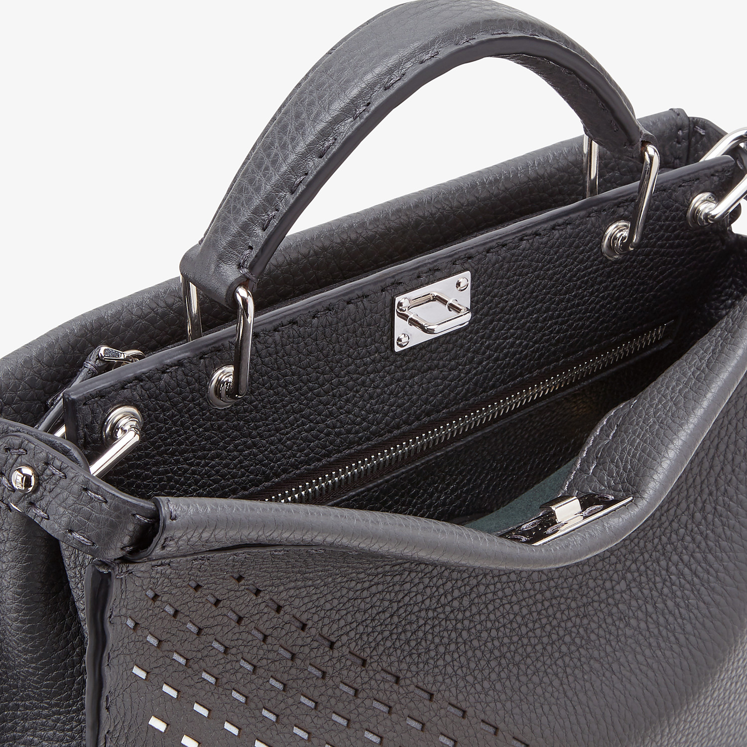 FENDI PEEKABOO ICONIC FIT MINI - Gray calfskin bag - view 5 detail