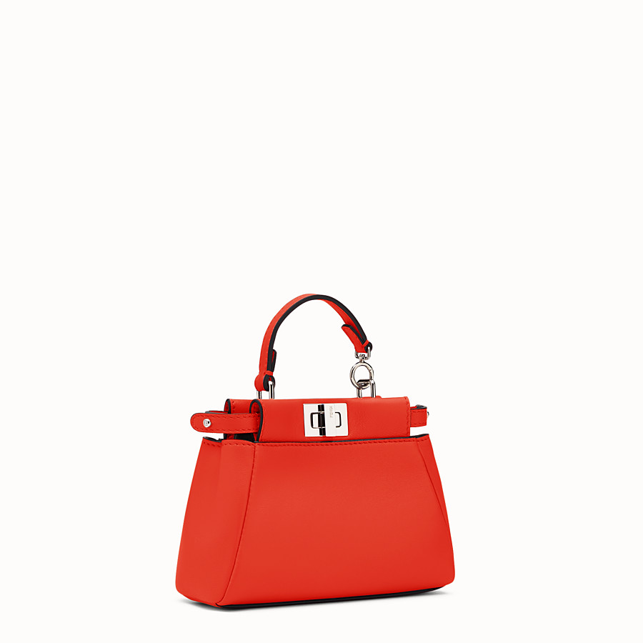 FENDI MICRO PEEKABOO - poppy red nappa microbag - view 2 detail