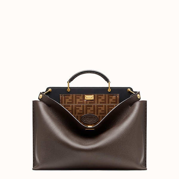 FENDI PEEKABOO ICONIC ESSENTIAL - 棕色皮革手袋 - view 1 小型縮圖