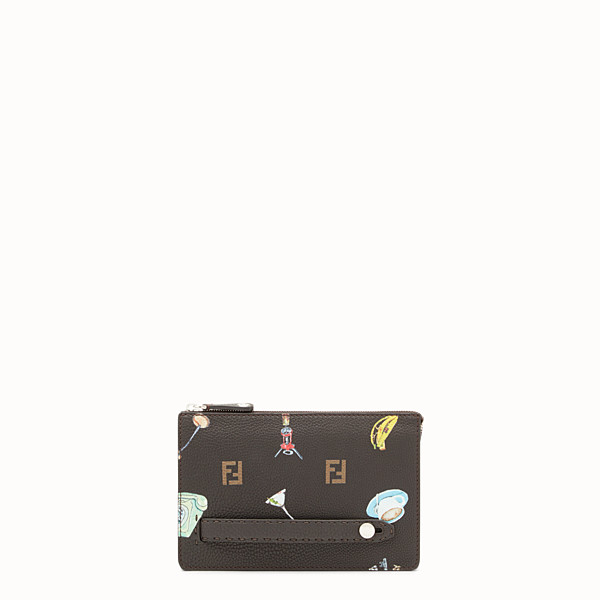 FENDI CLUTCH - Pochette in pelle marrone - vista 1 thumbnail piccola