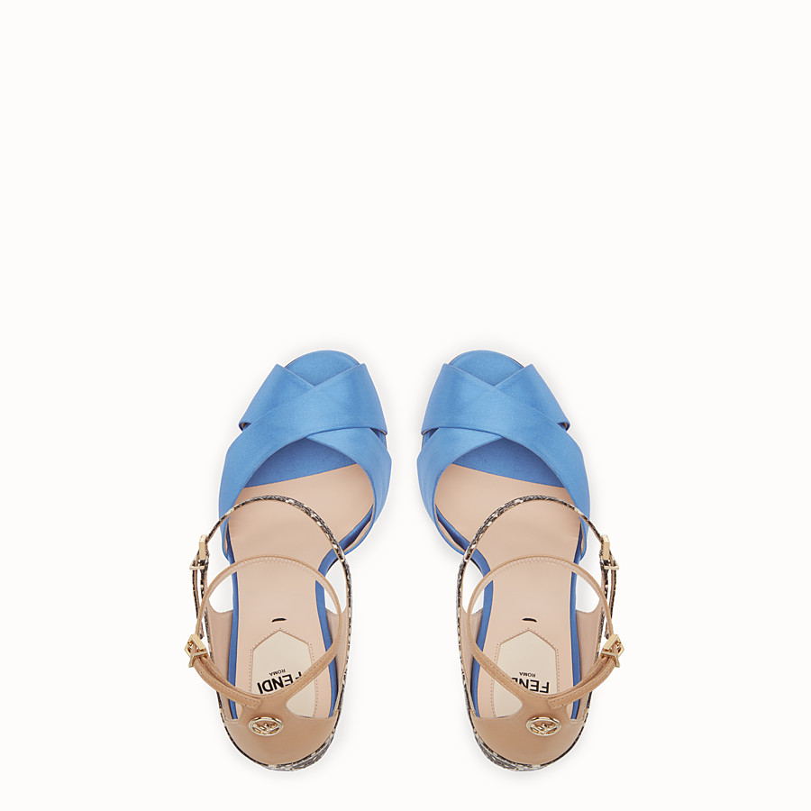 FENDI SANDALES - Sandales en satin bleu clair - view 4 detail