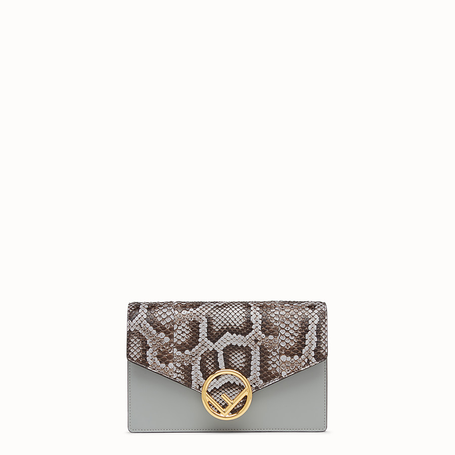 FENDI WALLET ON CHAIN - Minibag in pelle grigia ed esotico - vista 1 dettaglio