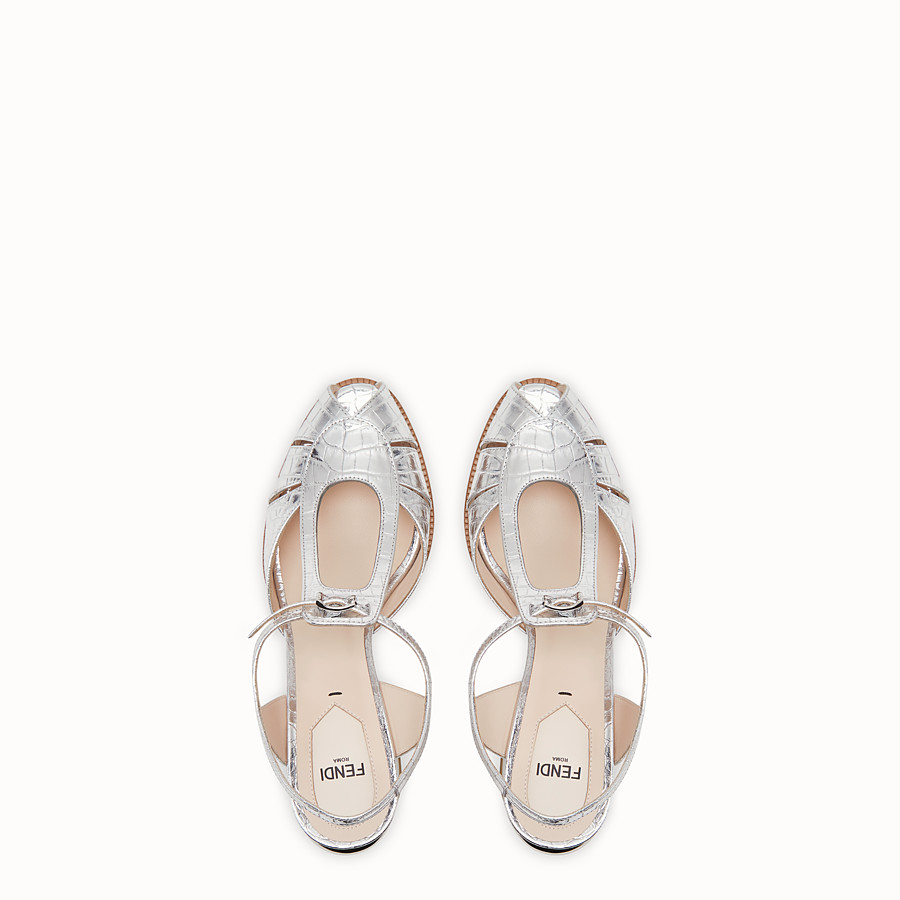 FENDI SANDALS - Silver leather sandals - view 4 detail