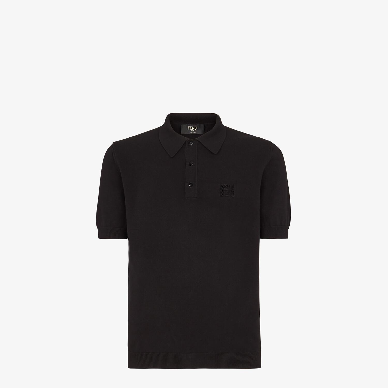 FENDI POLO SHIRT - Black cotton polo shirt - view 1 detail