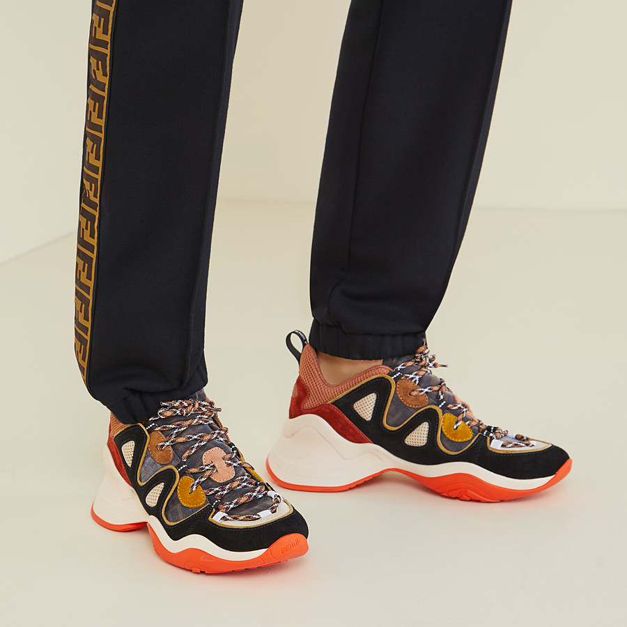 FENDI SNEAKERS - Multicolour suede and tech mesh sneakers - view 5 detail