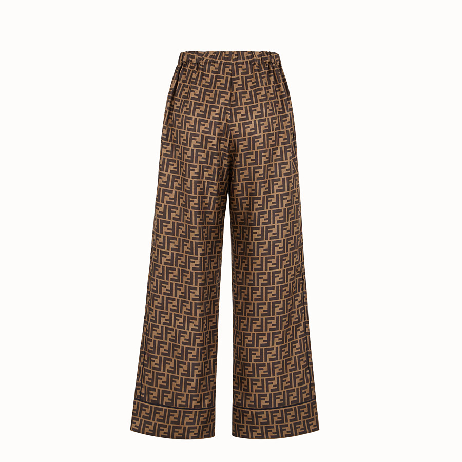 FENDI TROUSERS - Trousers in brown twill - view 2 detail