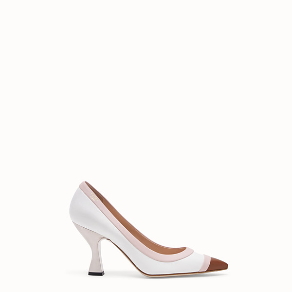 FENDI PUMPS - White nappa leather court shoes. - view 1 small thumbnail