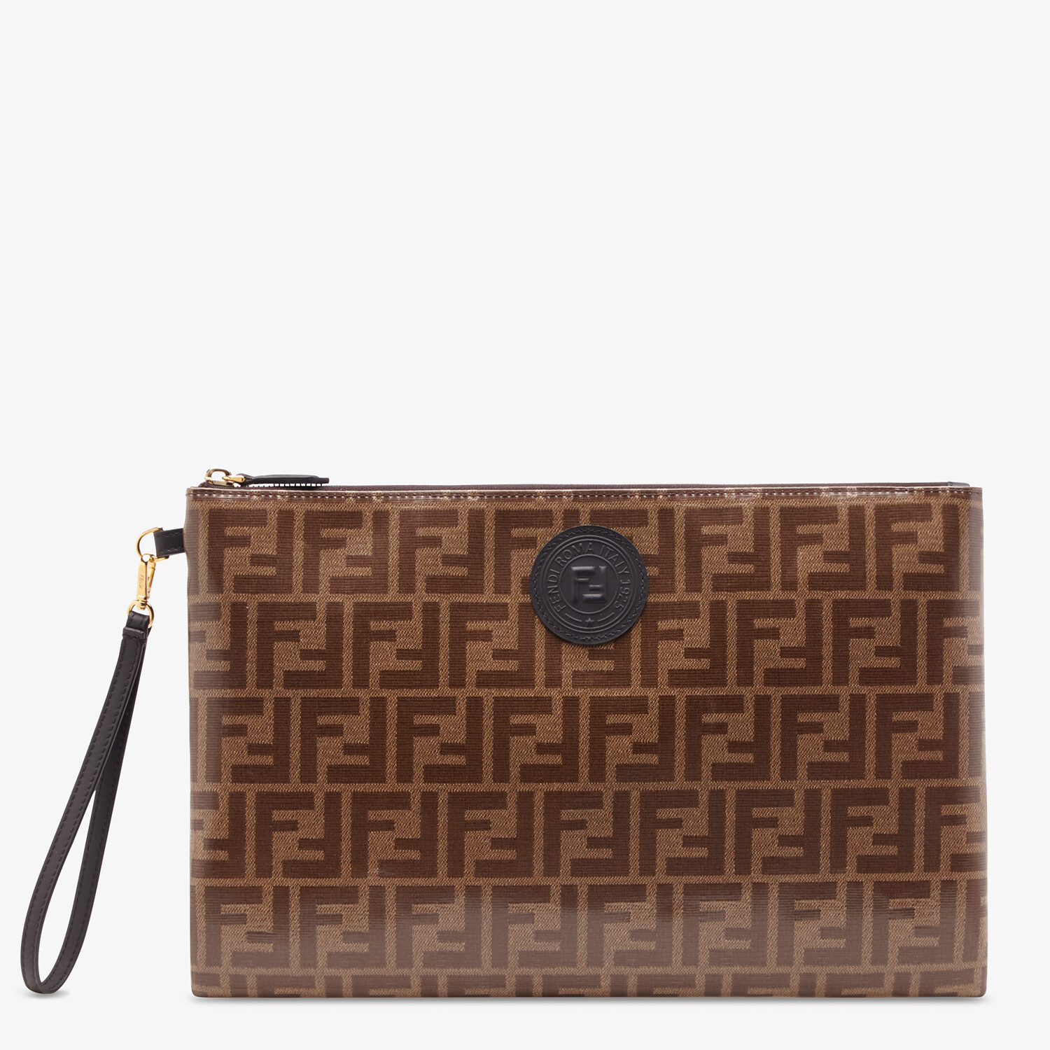 FENDI LARGE FLAT POUCH - Brown fabric pouch - view 1 detail