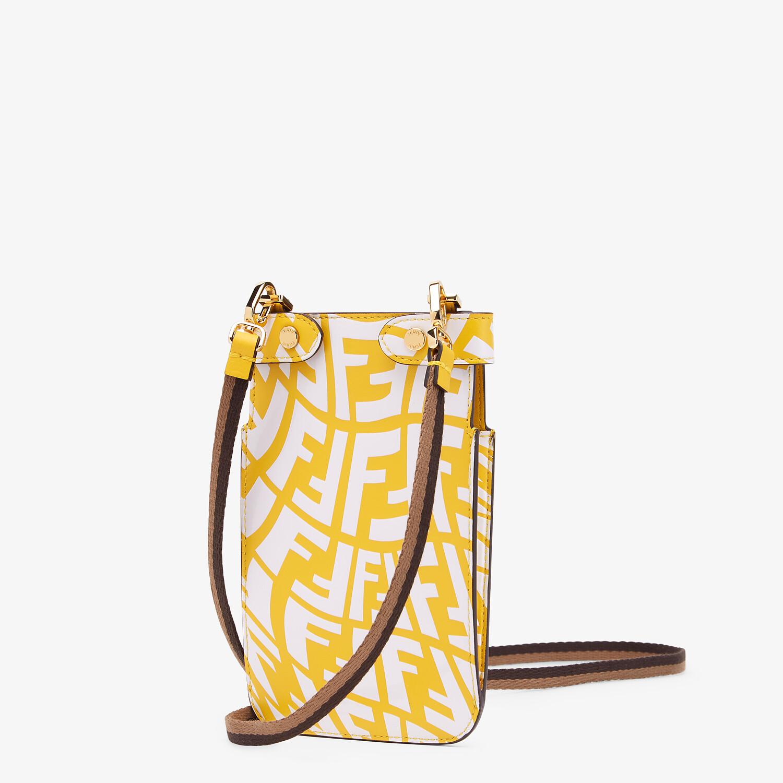 FENDI PEEK-A-PHONE - Yellow leather pouch - view 2 detail