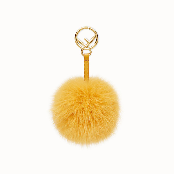 FENDI POM-POM CHARM - in yellow fur - view 1 small thumbnail