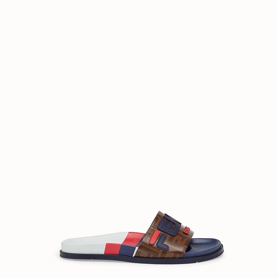 FENDI SLIDES - Multicoloured rubber Fussbet sandals - view 1 detail