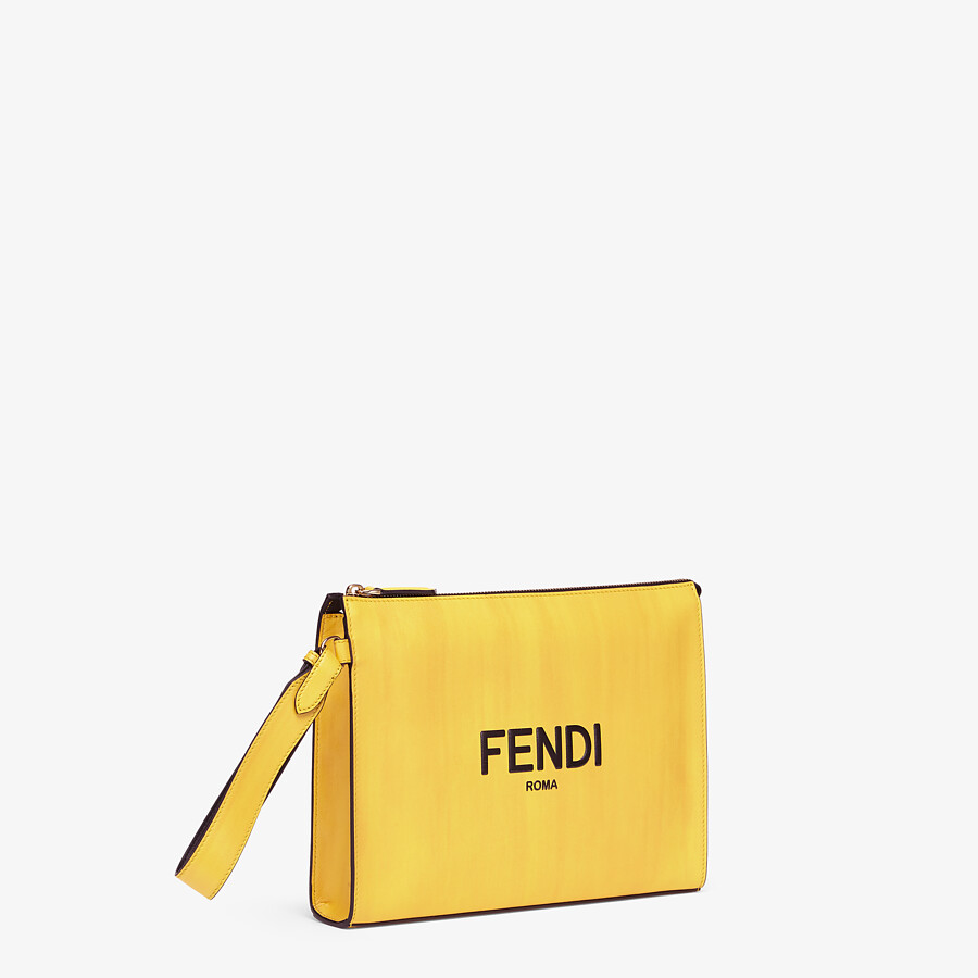 FENDI FLAT POUCH - Yellow leather pouch - view 2 detail