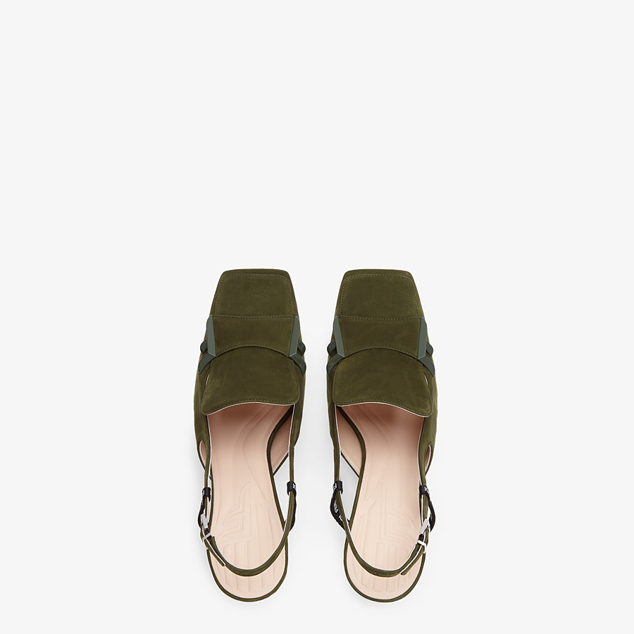 FENDI SLINGBACKS - Green nubuck slingbacks - view 4 detail